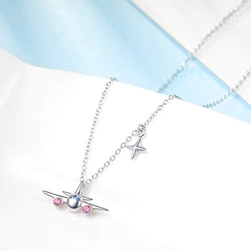 Airplane Pendant Necklace North Star Adjustable Necklace with Swarovski Crystals, welry Stewardess Flight Attendant Traveler
