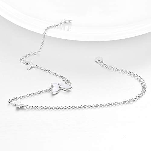 "Sterling Silver Created Pearl Butterfly Jewelry Anklets for Women Birthday Gift 9""+1.5"" Inches"