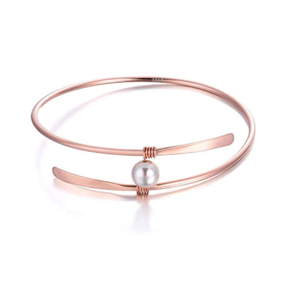 Wire Bangle Sterling Silver Single Freshwater Pearl Bracelets Wedding Bridesmaids Anniversary Gifts for Women