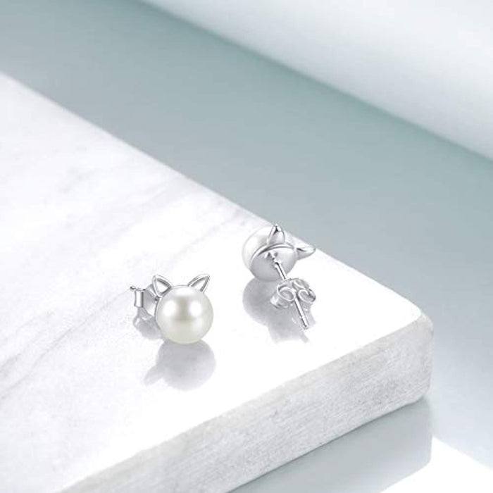 Cat Pearl Earrings Sterling Silver Cute Stud Earrings