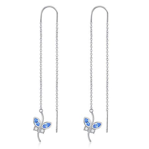 Blue Butterfly Earrings Threader Earrings with Crystal Crystal