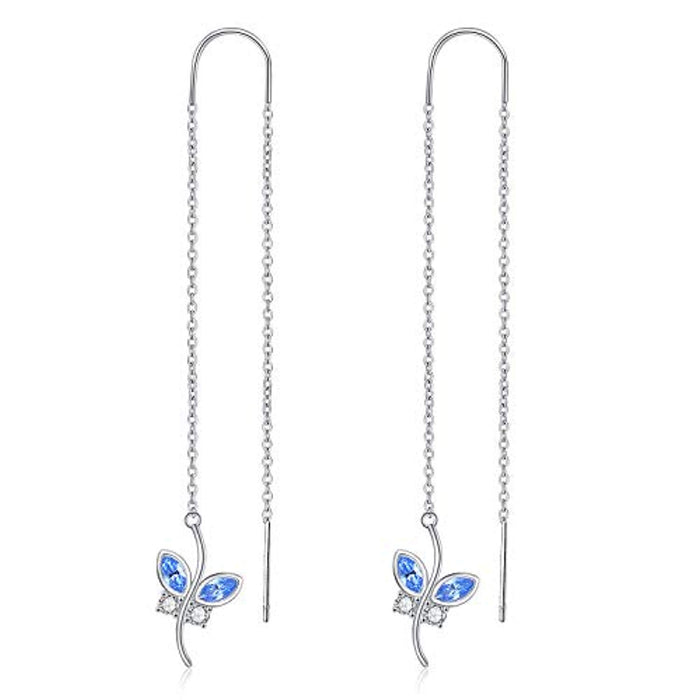 Blue Butterfly Earrings Threader Earrings with Swarovski Crystal