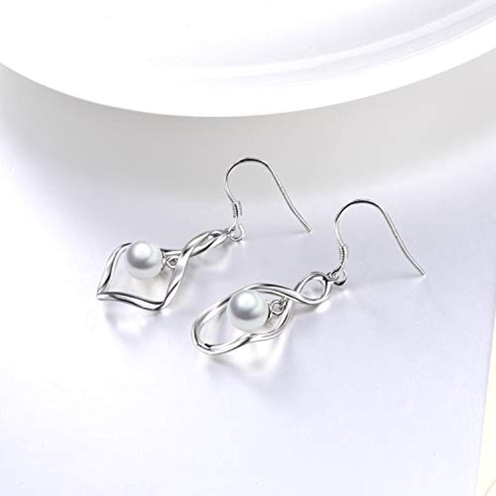 Pearl Dangle Earrings for Women Sterling Silver Twist Infinity Drop Earrings with Fishhook