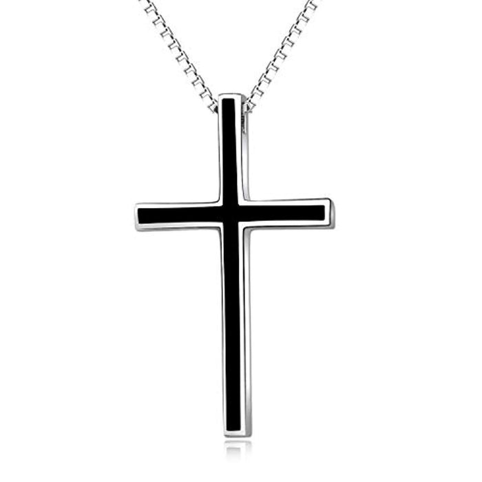 "Men's Black Cross Pendant Jewelry 925 Sterling Silver Classic Cross Necklace, 22"" Chain"
