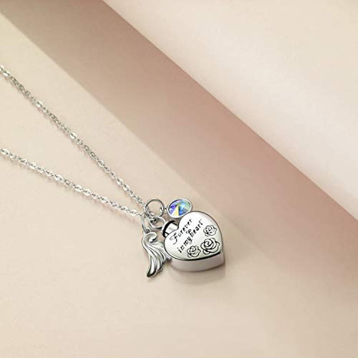 Love Heart URN Necklace Silver Heart Pendant Necklace with Crystal Crystal