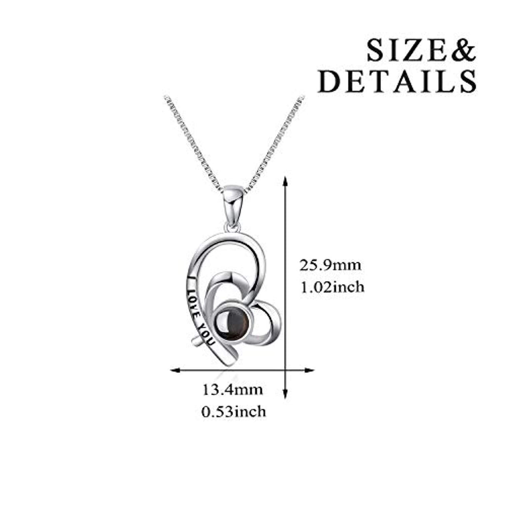 925 Sterling Silver I Love You Necklace 100 Languages Love 18