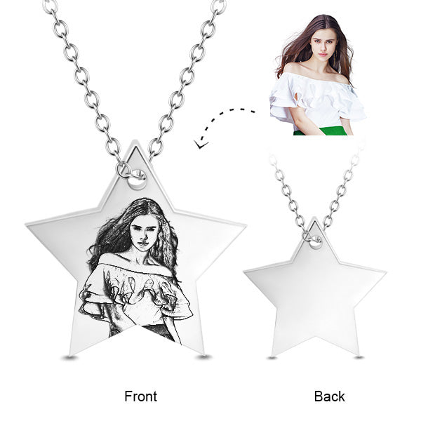 STAR PERSONALIZED PHOTO ENGRAVED PENDANT NECKLACE