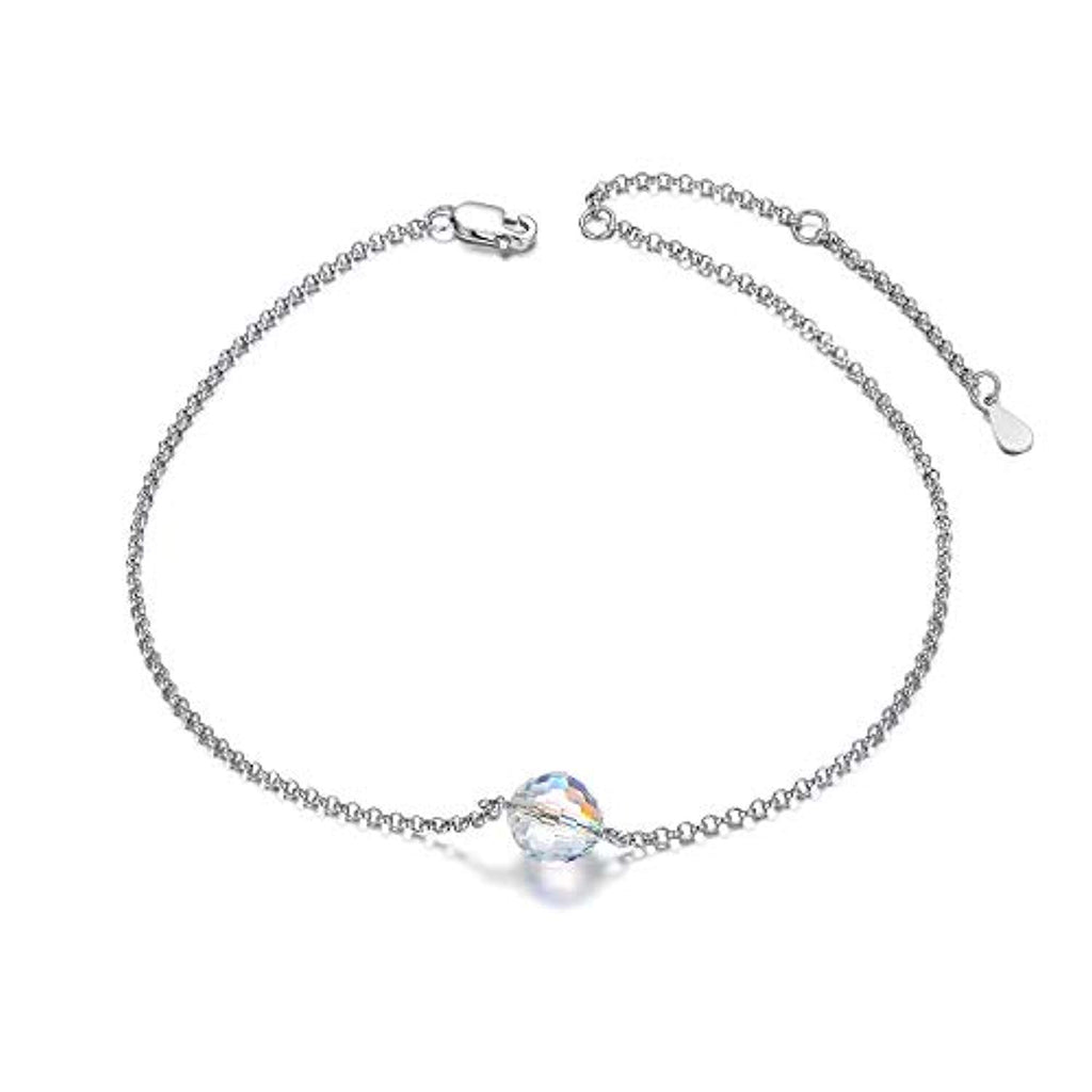 "Adjustable 10"" Gold Plated 925 Sterling Silver Anklet 7'' Bracelet for Women Teens Girls with Swarovski Crystal"