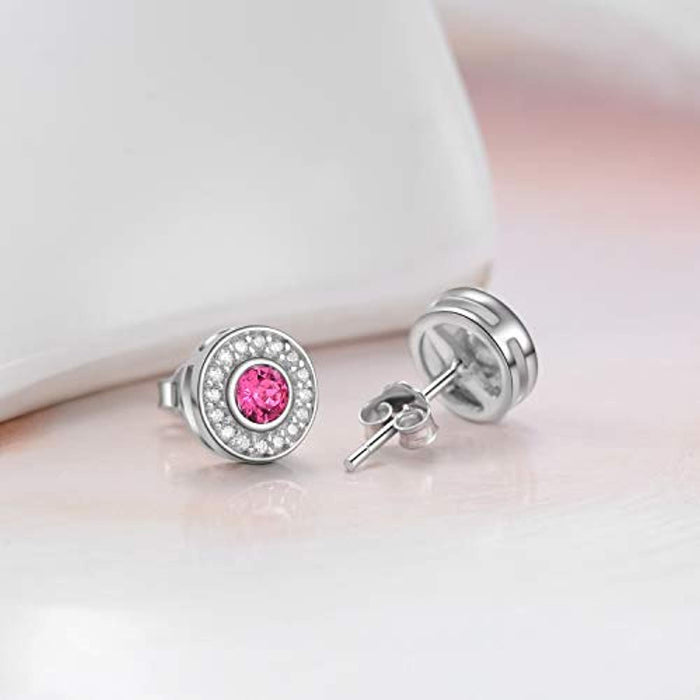 Round Cut Pink Halo Stud Earrings with Swarovski Crystals,Hypoallergenic  Earrings