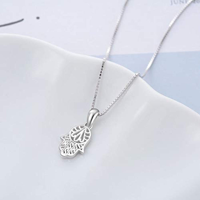 Hamsa Hand Pendant Necklace Infinity Fatima Hand Women Necklace 18""