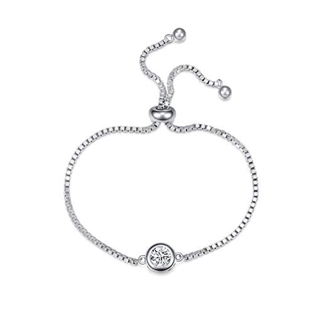 Sterling Silver Adjustable Chain Bracelet Single Round Cubic Zirconia Bracelet
