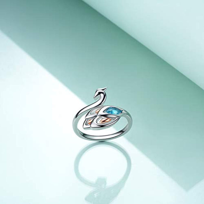 Peacock Ring For Women Or Teen Girls Sterling Silver Adjustable Bands Ring