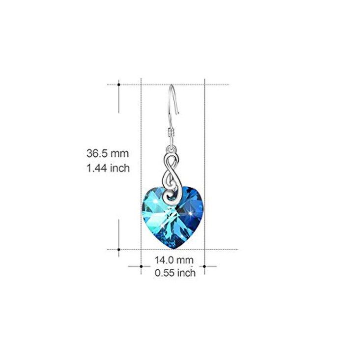 925 Sterling Silver Ocean Blue Heart Dangle Drop Earrings with Swarovski Crystals Jewelry (Musical Note Blue)