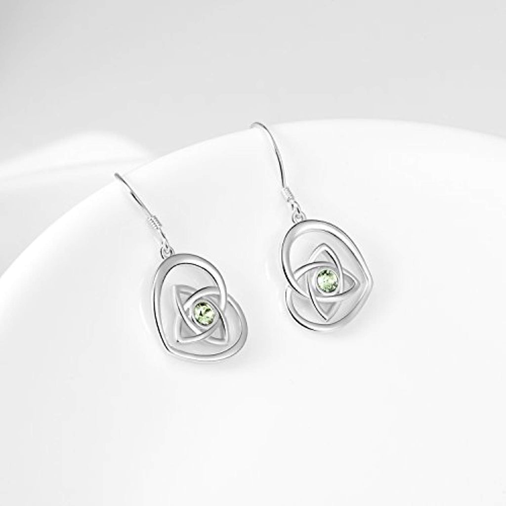 Irish Celtic Knot Earrings French Hook Love Heart Dangle Earrings Made With Crystal Crystals