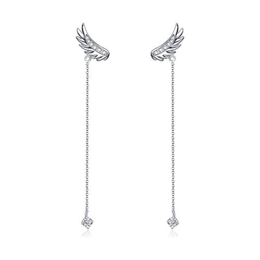 Angel Wings Earrings Drop Dangle Ear rings with Swarovski Crystal