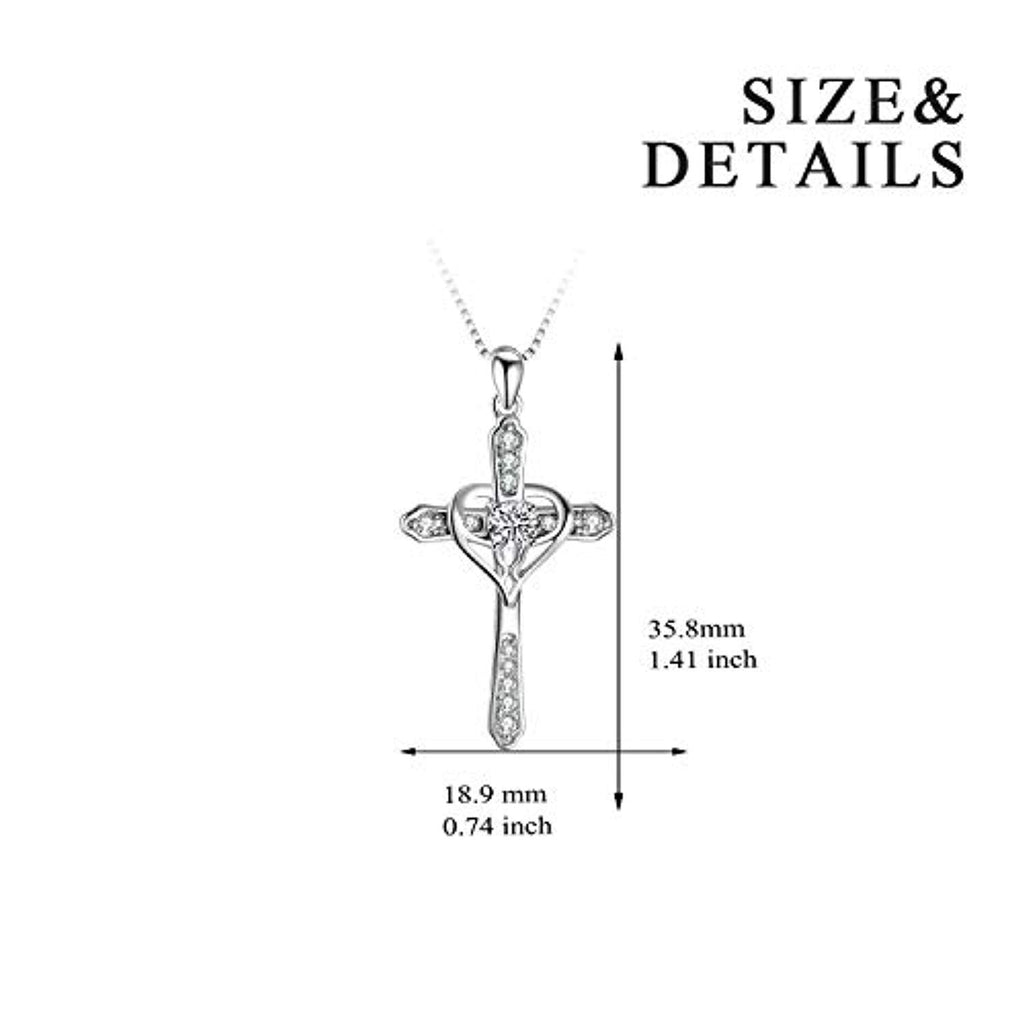 Cross Heart Women Necklace 925 Sterling Silver Polished Infinity Heart Necklace 18