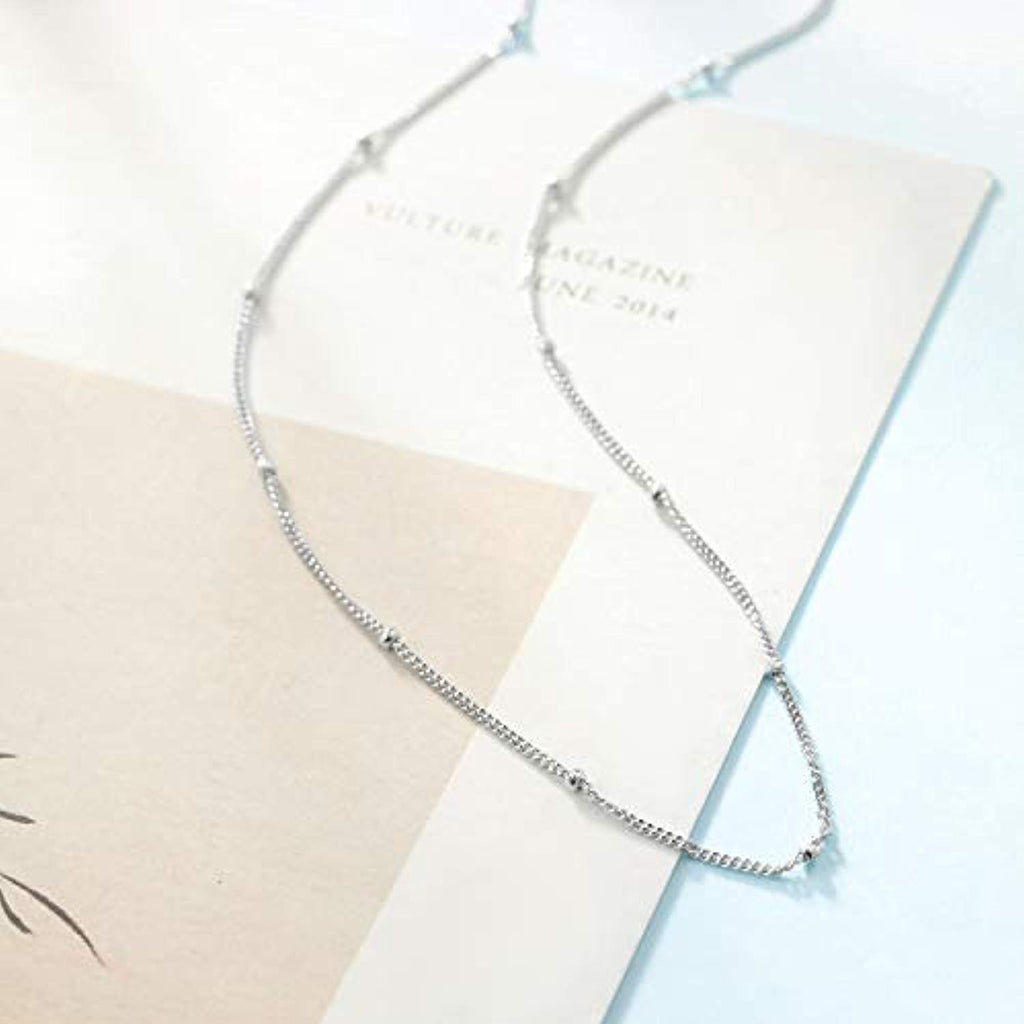 925 Sterling Silver Layered Choker Satellite Beaded Curb Ball Heart Chain Necklace for Women Girls,Gift for Mother or Wife