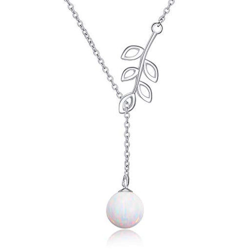 Y Lariat Necklace Sterling Silver Olive Leaf Pearl Opal Created Drop Pendant Necklace