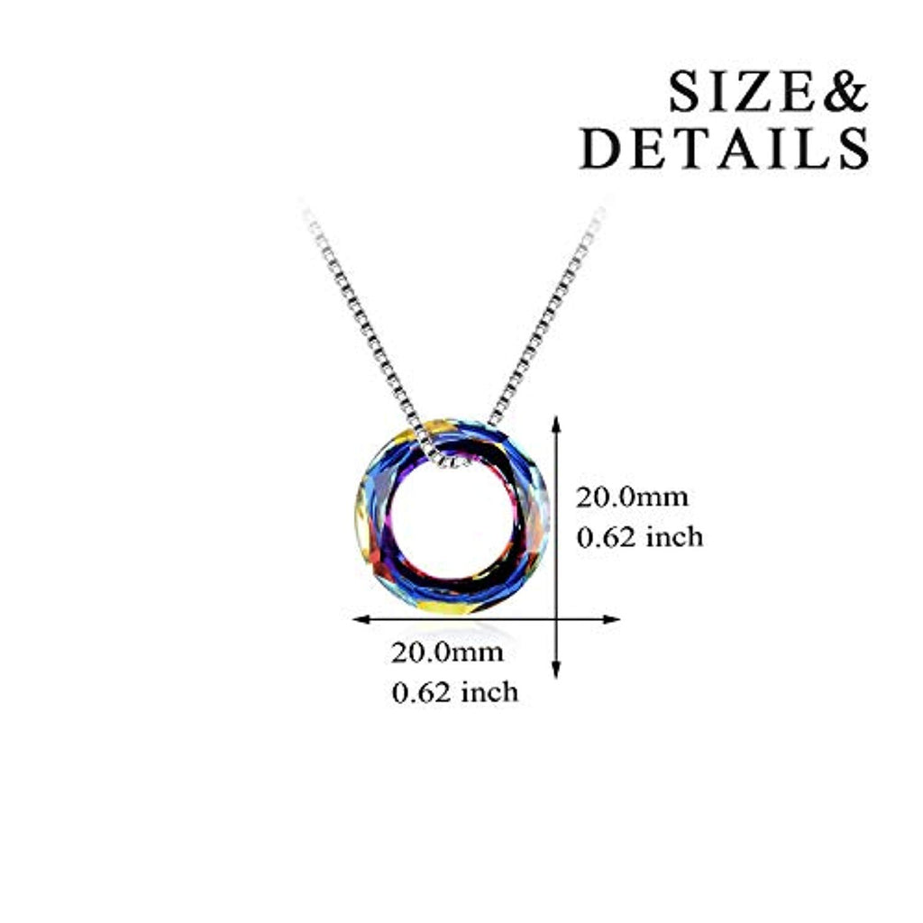 925 Sterling Silver Multi Color Round Simple Pendants with Swarovski Crystals