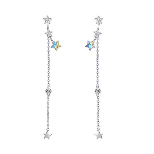 Star Dangle Earrings Front Back Post Earrings with Swarovski Crystals