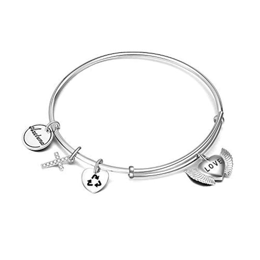 Sterling Silver Cross and Wing Bracelets Expandable Bangles for Women