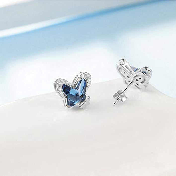 925 Sterling Silver Butterfly Stud Earrings with Blue Crystals from Swarovski, Hypoallergenic Earrings