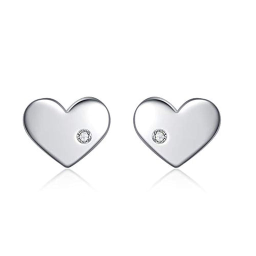 Sterling Sliver Heart Earrings with Cubic Zirconia Stud Earrings