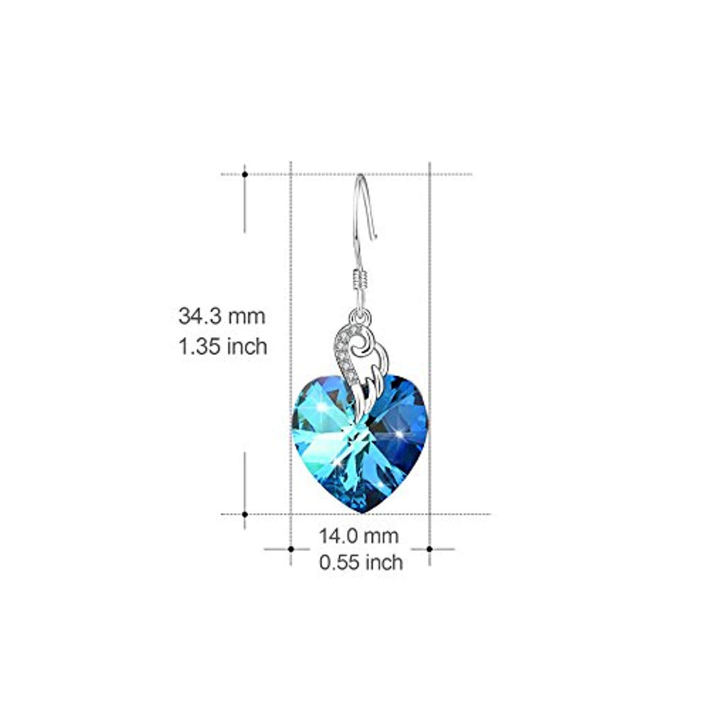 Sterling Silver Love Heart Dangle Drop Earrings with Blue Swarovski Crystals