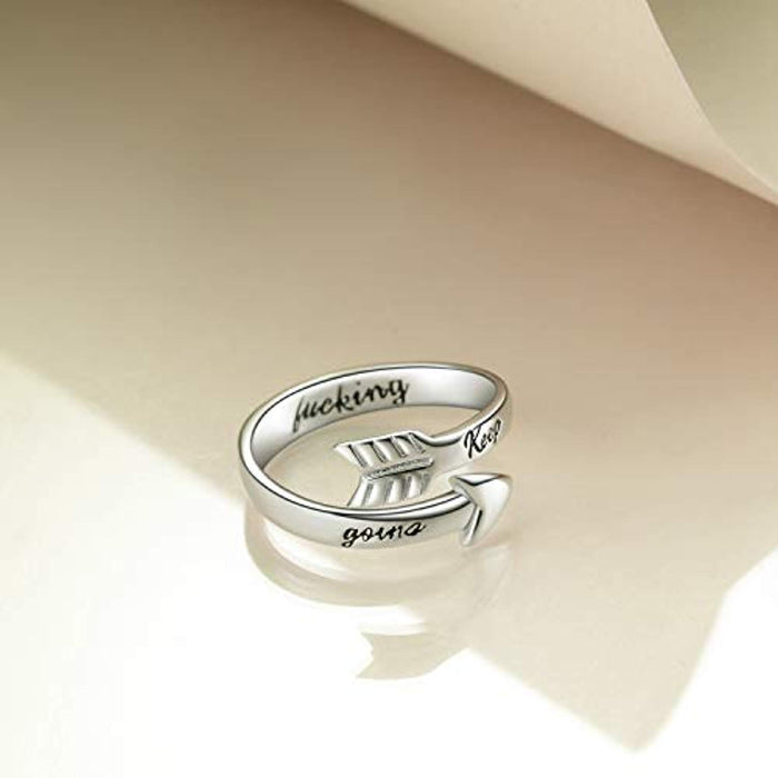 Sterling Silver Arrow Adjustable Rings Inspirational Gifts for Women Teens Girls