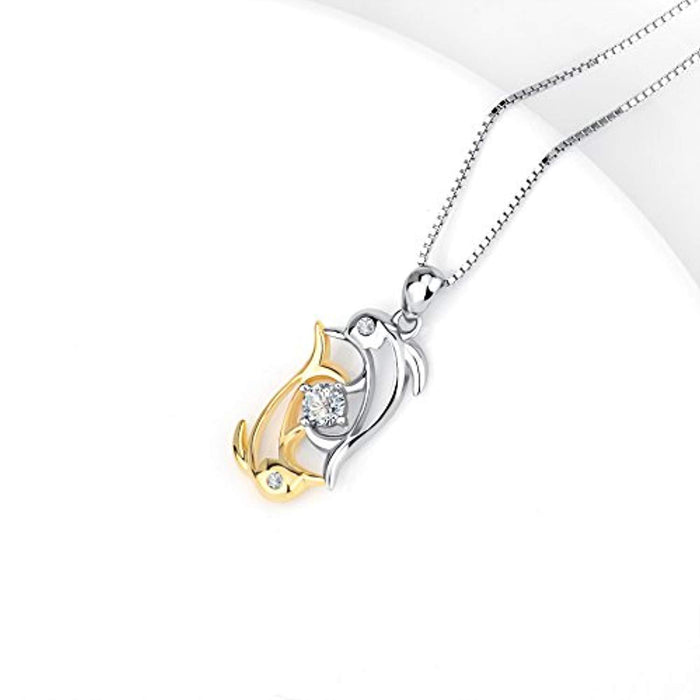 Double Dolphins Crystal Pendant Necklace with 18K Gold Overtone Sterling Silver,18""