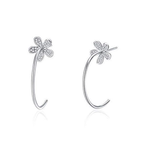 Hoop Earrings Sterling Silver Daisy Flower Hypoallergenic Stud Earrings