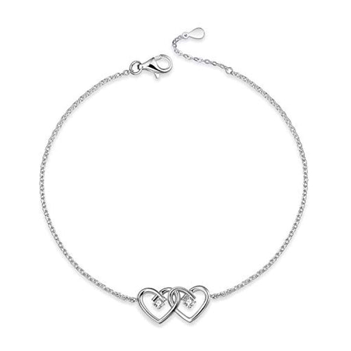 Sterling Silver Double Heart Mother and Daughter Adjustable Bracelet