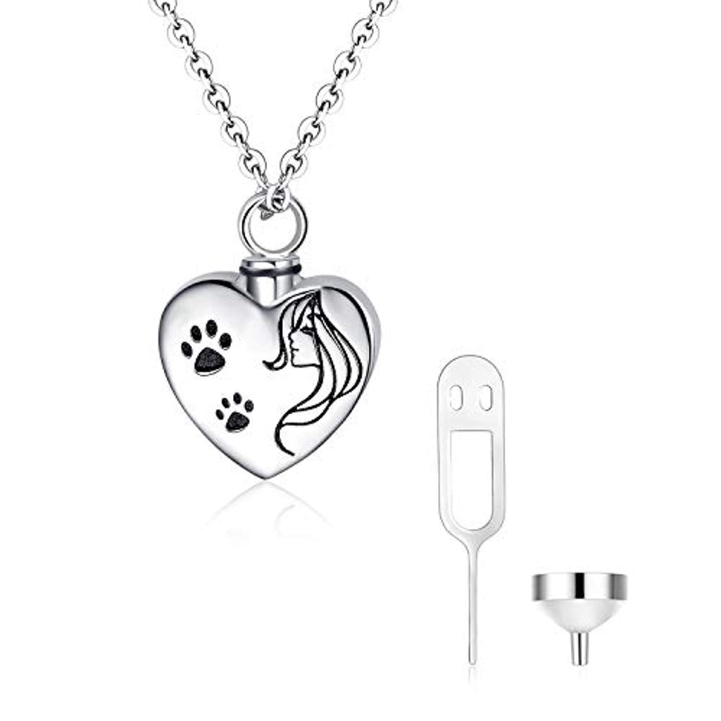 Dog Cat Paw Urn Necklaces for Ashes Cremation Jewelry Always in My Heart Sterling Silver Heart Pendant Necklace Memorial Keepsake Gifts