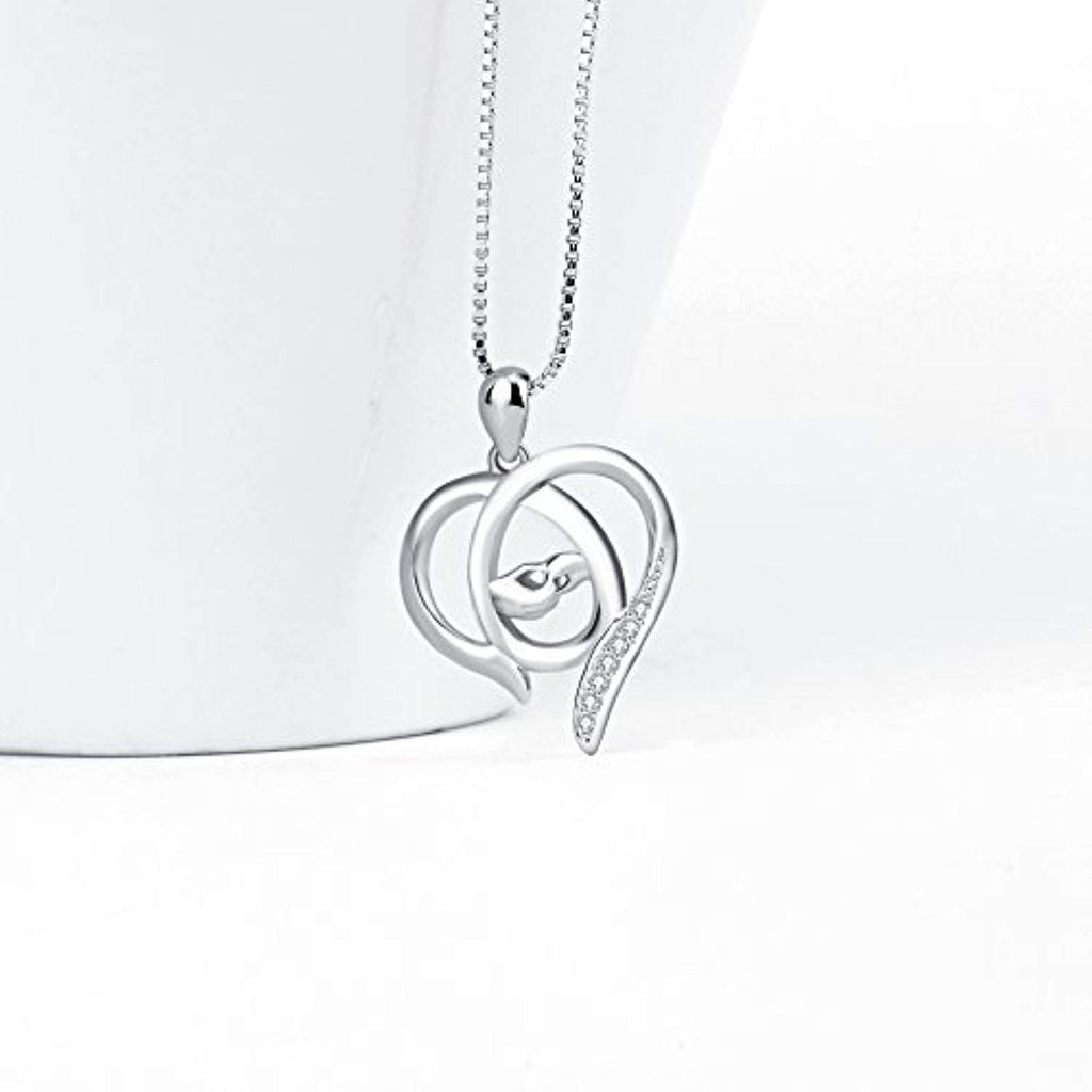 Mother and Child Hands Eternal Love Heart Sterling Silver Pendant Necklace, 18