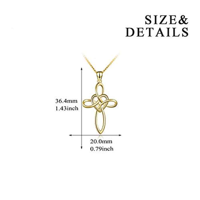 Celtic Knot Cross Sterling Silver Infinity Love Heart Pendant Necklace