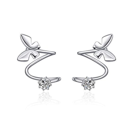 Ear Climber Crawler Wrap Earrings Butterfly Cuff Sterling Silver Hypoallergenic Stud Earrings
