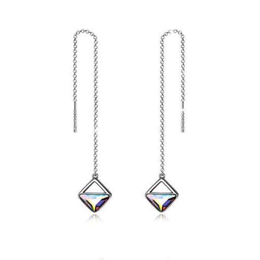 Sterling Silver Threader Crystal Earrings Long Chain Geometric Earrings Square Drop with Swarovski Crystals