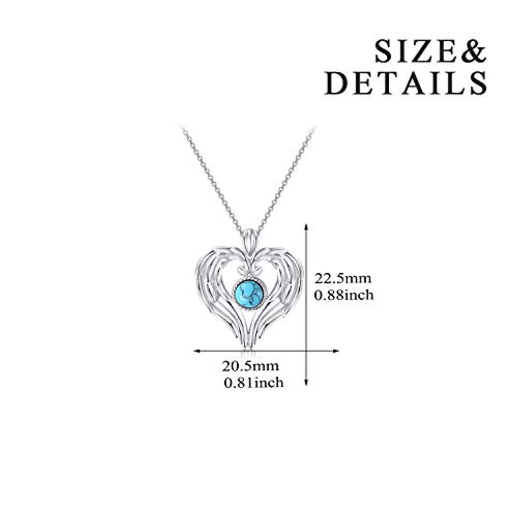 Sterling Silver Guardian Angel Wings Simulated Turquoise Pendant Necklace Jewelry for Women Girls Gifts