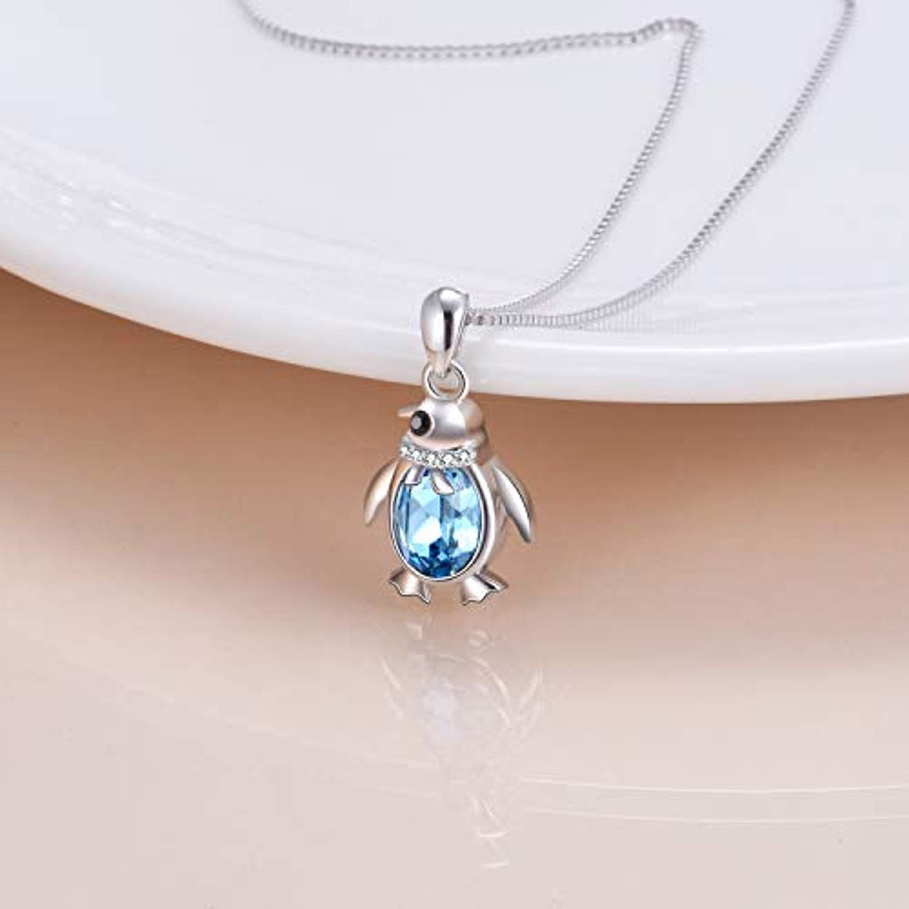 Aquamarine Blue Crystal Sterling Silver Necklaces Penguin Necklace Dainty Stacking Rings Fine Jewelry Gift for Girls Women