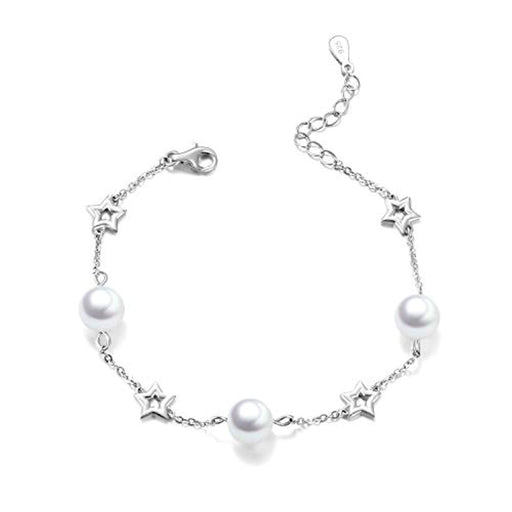 Star Bracelets Sterling Silver Pearl Adjustable Chain Bracelet