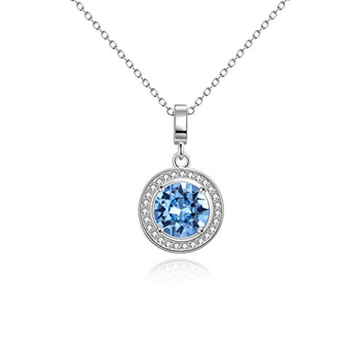 Halo Necklace White Gold Plated Birthstone Pendant Necklace with Simulated Aquamarine Crystal Crystal,Wedding Engagement Gift for Women