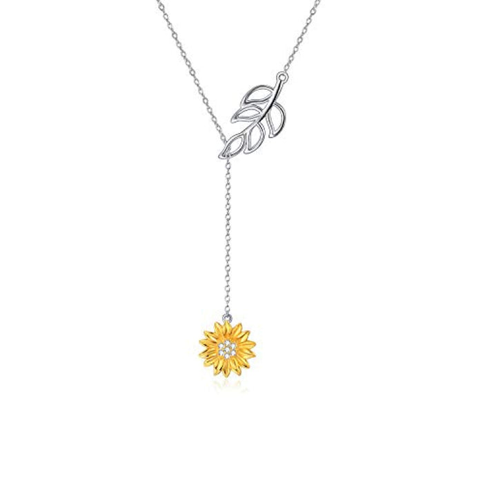 Sterling Silver Sunflower Necklace Series for Women Girls You are My Sunshine