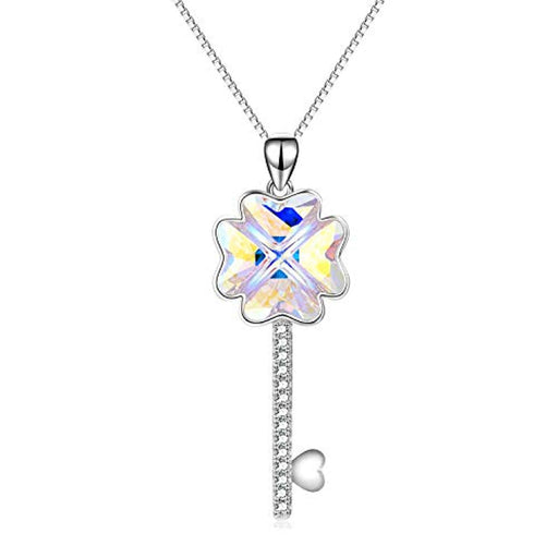 Key Necklace The Key to Your Heart Pendant Four-Leaf Clover Necklace with Crystal
