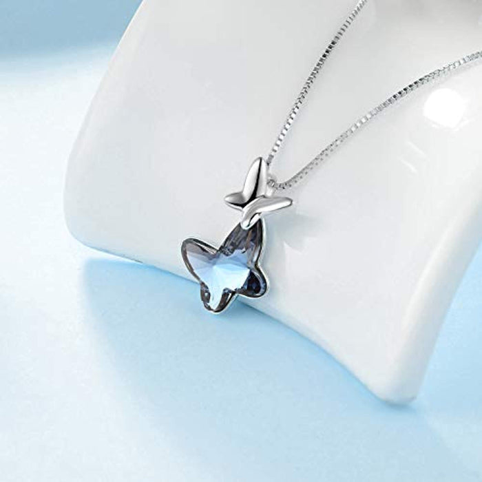 Butterfly Pendant Necklace with Blue Crystal Crystal