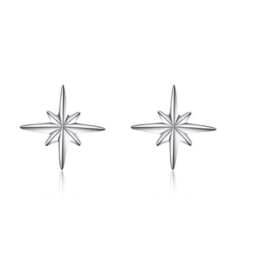 Sterling Silver Compass Star Stud Earrings Gifts for Women Girls Child