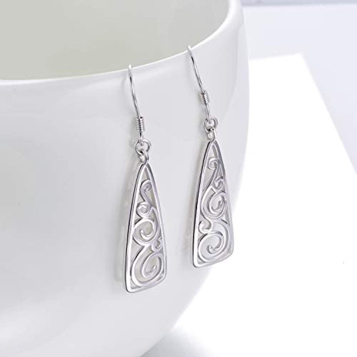 925 Solid Sterling Silver Filigree Teardrop Dangle Drop Earrings