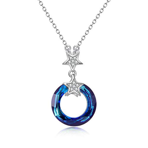 Blue Circle Crystal Necklace 925 Sterling Silver Chain, Multi Color Round Simple Pendants with Swarovski Crystals Fine Jewelry Gift for Women Girls Teens