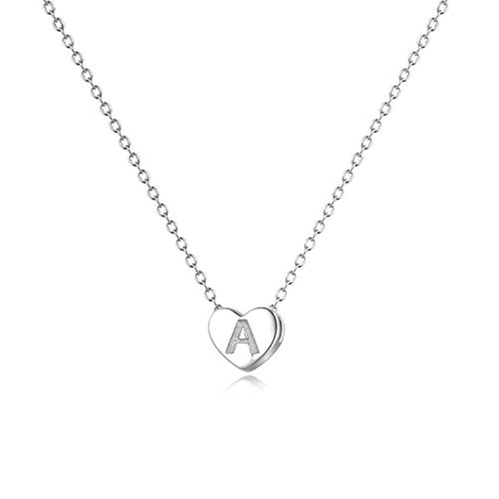 Sterling Silver Initial Alphabet Letter A Heart Choker Necklace