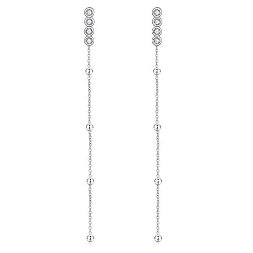 Sterling Silver Front Back Post Earrings Bar Dangle Earrings with Crystal Crystals