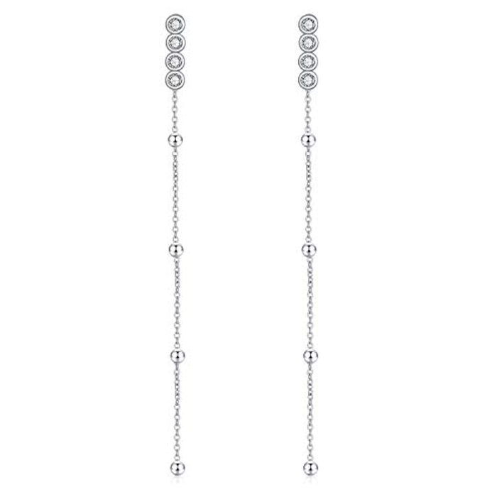 Sterling Silver Front Back Post Earrings Bar Dangle Earrings with Swarovski Crystals